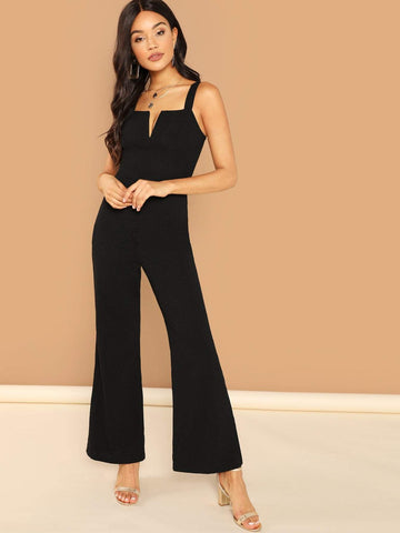 Sleeveless Thick Strap V-notch Front Flared Jumpsuit