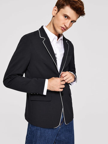 Black Notched Collar Single Button Contrast Piping Blazer