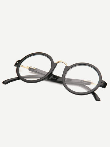 Metal Detail Round Lens Glasses