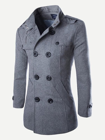 Funnel Neck Double Breasted Pea Coat