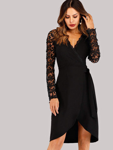 V-Neck Contrast Lace Tulip Hem Wrap Dress