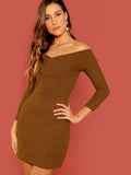 Long Sleeve Off Shoulder Cross Wrap Rib-knit Pencil Dress