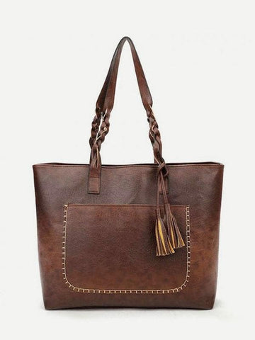 Double Handle Tassel Decor Tote Bag With Braided Handle