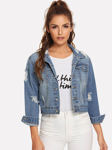 Single Breasted Ripped Faded Wash Denim Jacket