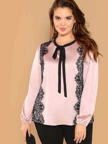 Long Sleeve Plus Rond Tie Neck Lace Trim Satin Top