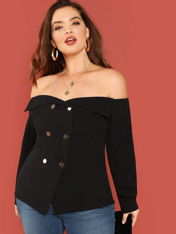 Plus Size Long Sleeve Off Shoulder Double Breasted Blouse Top