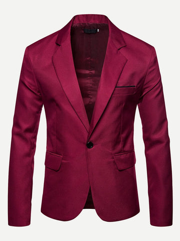 Notched Collar Solid Single Button Blazer