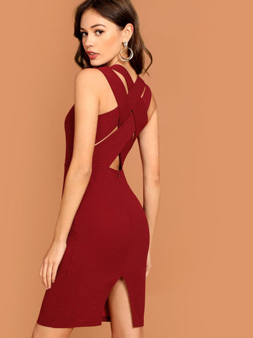 Burgundy V Neck Criss Cross Split Back Sleeveless Pencil Dress