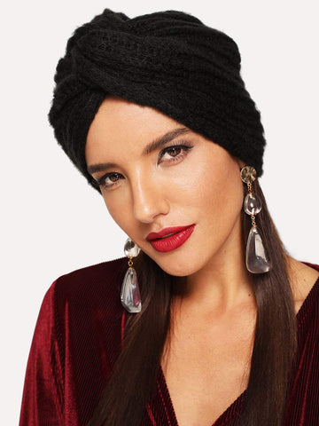 Black Polyester Twist Turban Hat