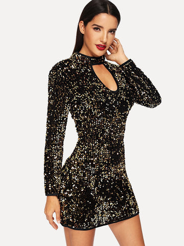 Stand Collar Keyhole Sequin Bodycon Dress
