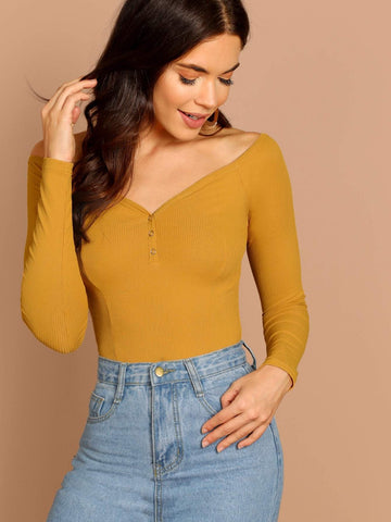Off Shoulder Press Buttoned Front Rib-knit Bardot Tee Top