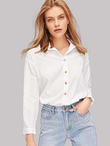 Long Sleeve Solid Button Up Curved Hem Shirt