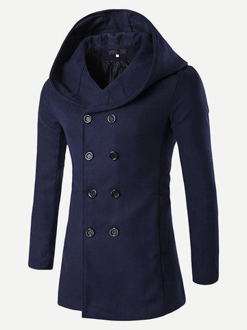 Navy Blue Double Breasted Hooded Coat