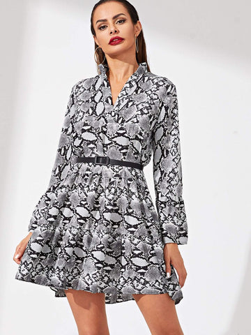 V-Neck Snakeskin Belted Waist Flare Dress