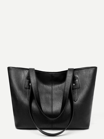 Double Handle Solid PU Tote Bag