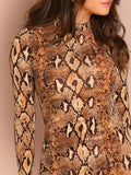 Stand Collar Snake Skin Mock Neck Dress