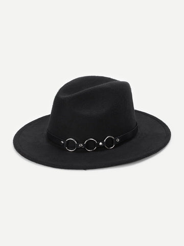 Ring Belt Decorated Fedora Hat