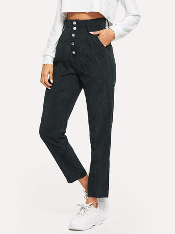 High Waist Button Fly Cord Tapered Pants
