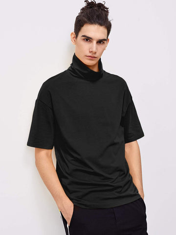 Black High Neck Half Sleeve Tee T-Shirts Pullover