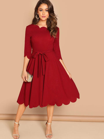 Round NeckThree Quarter Sleeve Scallop Trim  Belted Fit & Flare Dress