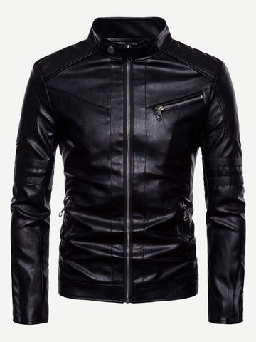 Black Stand Collar Zipper Detail Solid PU Biker Jacket