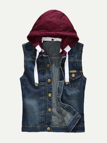 Blue Single Button Hooded Denim Vest