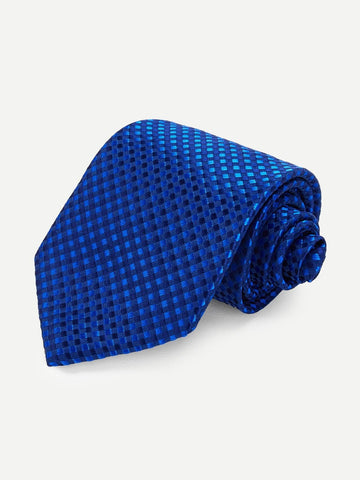 Blue Polyester Embroidery Tie