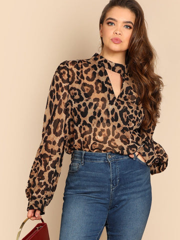 Polyester Stand Collar Plus Keyhole Back Choker Neck Leopard Print Top
