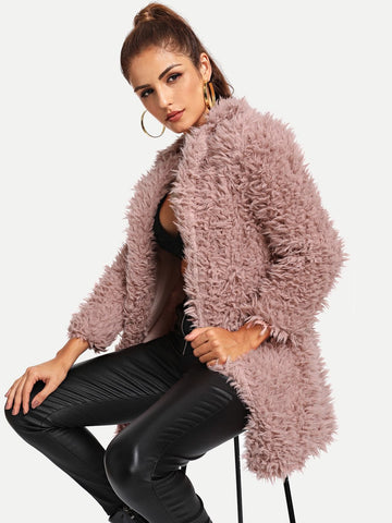Pink Notched Collar Open Front Solid Teddy Coat