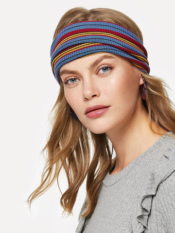 Multicolor Polyester Polychrome Striped Headband