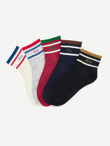 Striped Letter Pattern Socks 5pairs