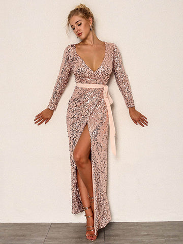 Plunging Neck Surplice V Neck Belted Sequin Dress