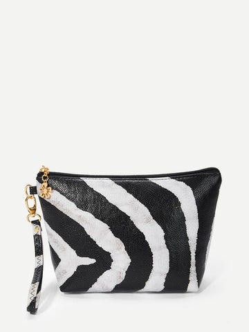 Two Tone Black and White Striped Makeup Bag