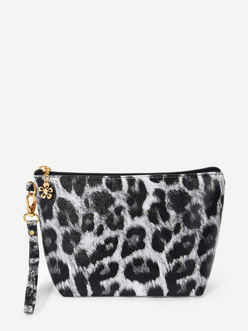Black and White Leopard Makeup Sequins Bag