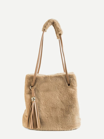 Khaki Tassel Decor Fuzzy Fur Tote Bag