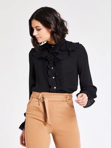 Black Stand Collar Ruffle Front Pintuck Blouse Top