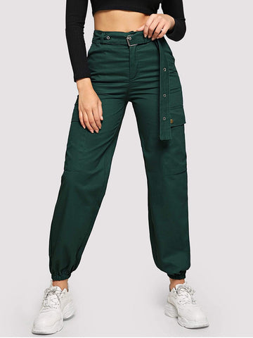 Button Fly Flap Pocket Grommet Belted Cargo Pants