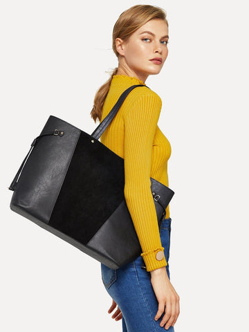 Black Color-block Tote Bag