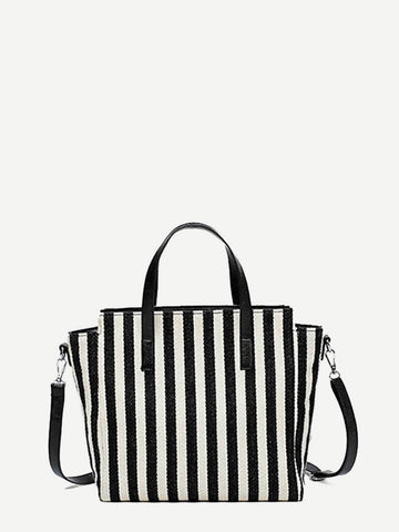 Black and White Striped Canvas Tote Bag