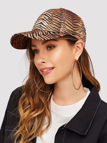 Brown Polyester Striped Baseball Cap