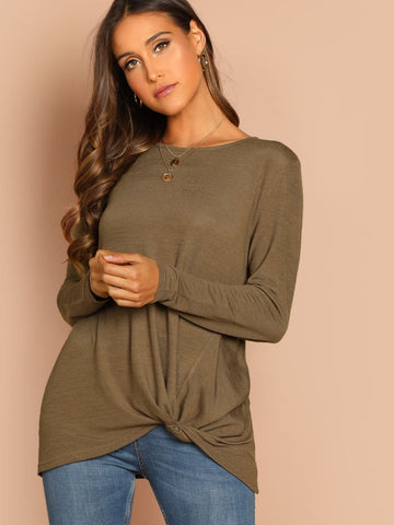 Round Neck Twist Hem Solid Tee Top