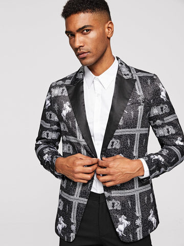 Regular Fit Black and White Notched Collar Graphic Print Blazer