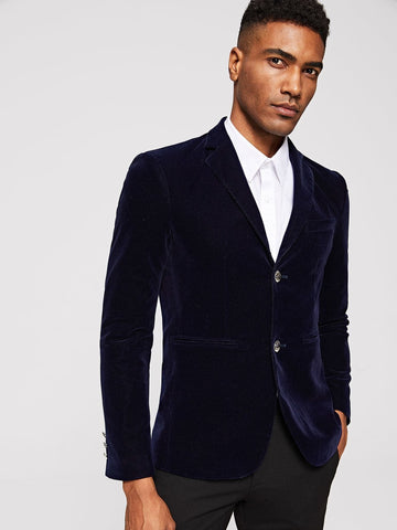 Navy Blue Single Breasted Double Welt Pocket Detail Velvet Blazer
