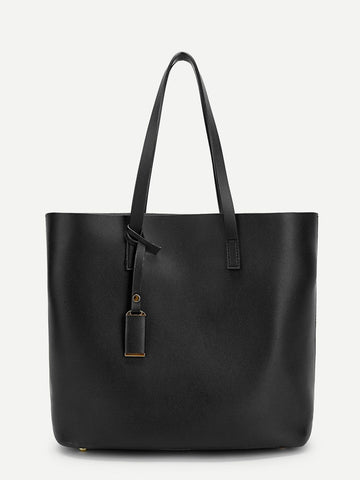 Black Plain Tote Bag