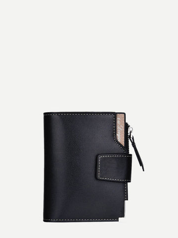 PU Leather Black Fold Over Wallet