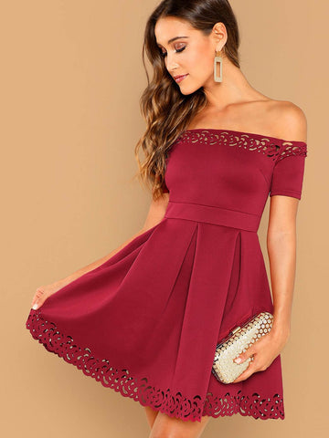 Short Sleeve Off Shoulder Laser Cut Fit & Flare Dress