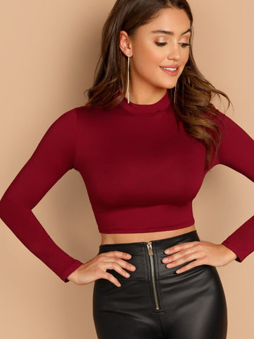 Stand Collar Long Sleeve Slim Fitted Solid Crop Top