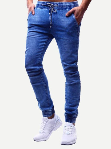 Drawstring Waist Tapered Carrot Jeans