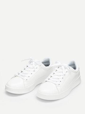 White Solid Low Top Sneakers
