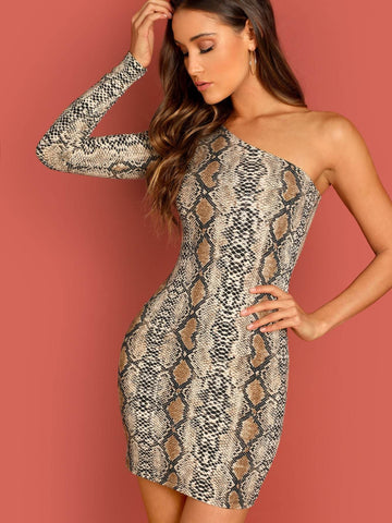 One Shoulder Snakeskin Bodycon Dress
